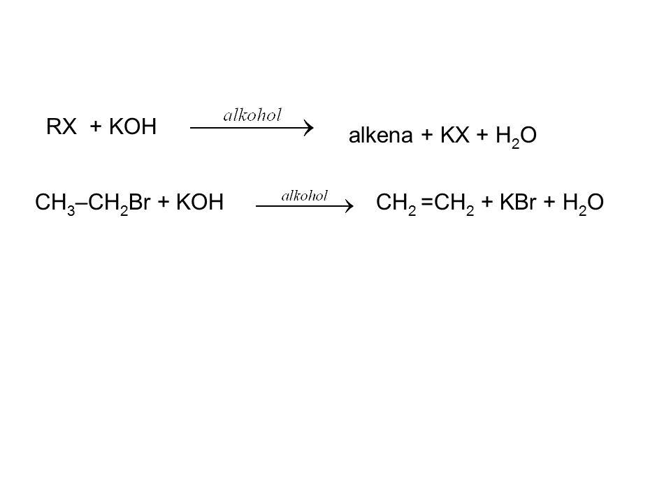 RX + KOH alkena + KX + H2O CH3–CH2Br + KOH CH2 =CH2 + KBr + H2O
