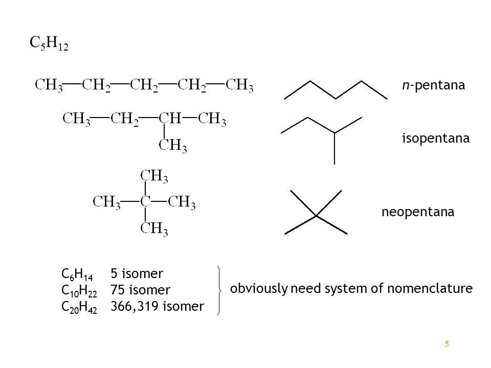 C5H12 n-pentana isopentana neopentana C6H14 5 isomer C10H22 75 isomer