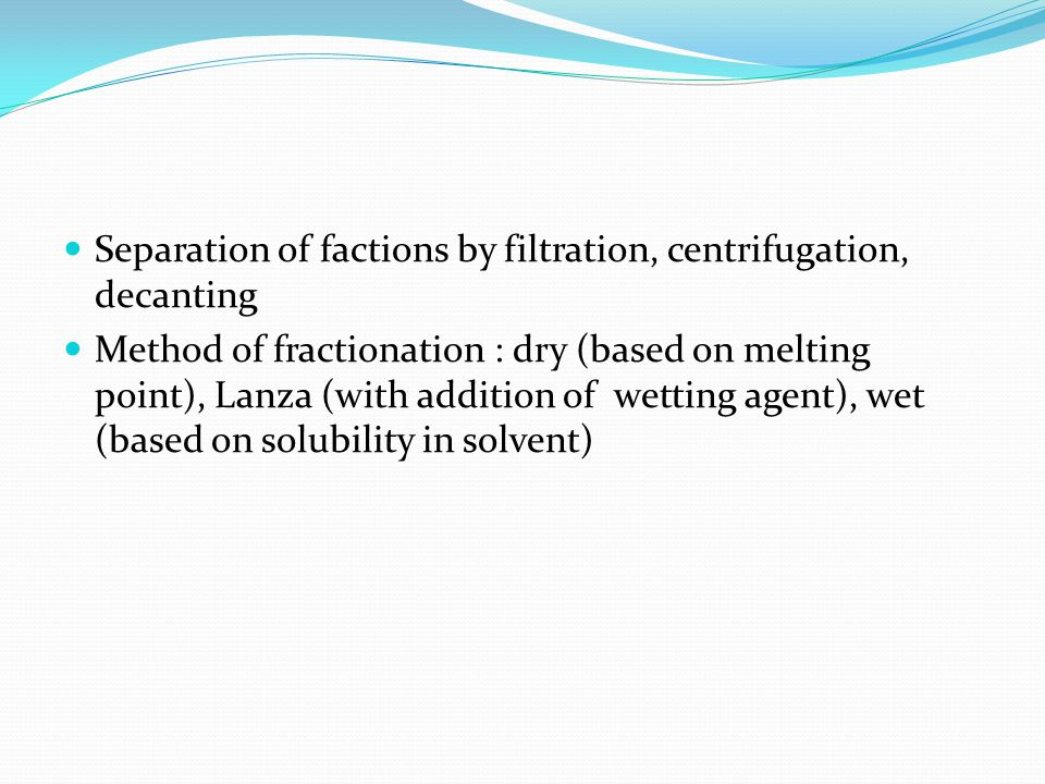 Separation of factions by filtration, centrifugation, decanting