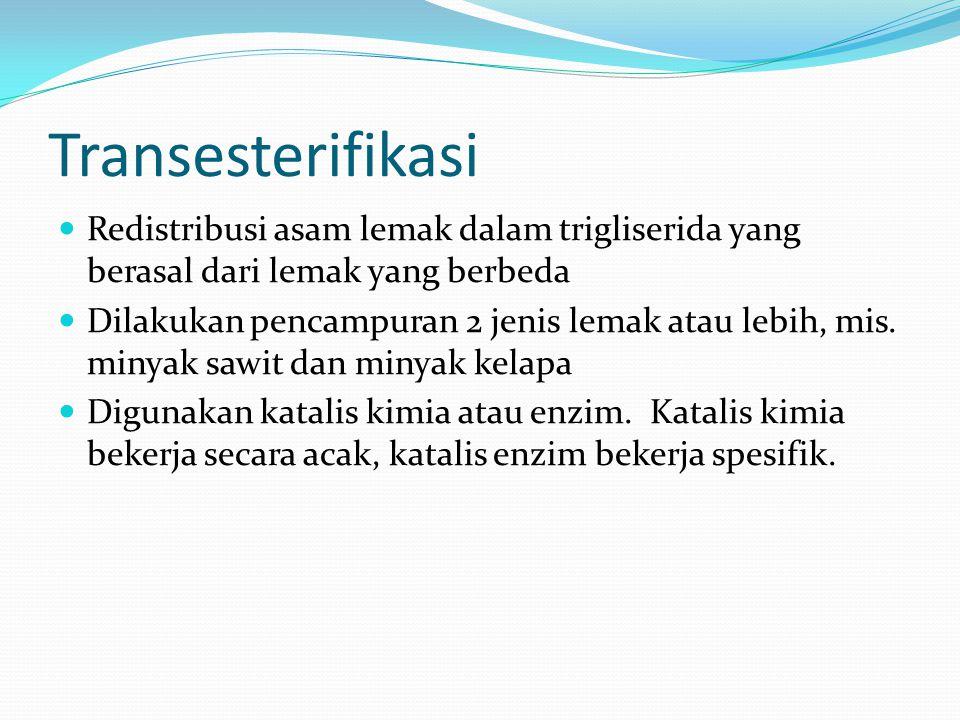 Transesterifikasi Redistribusi asam lemak dalam trigliserida yang berasal dari lemak yang berbeda.