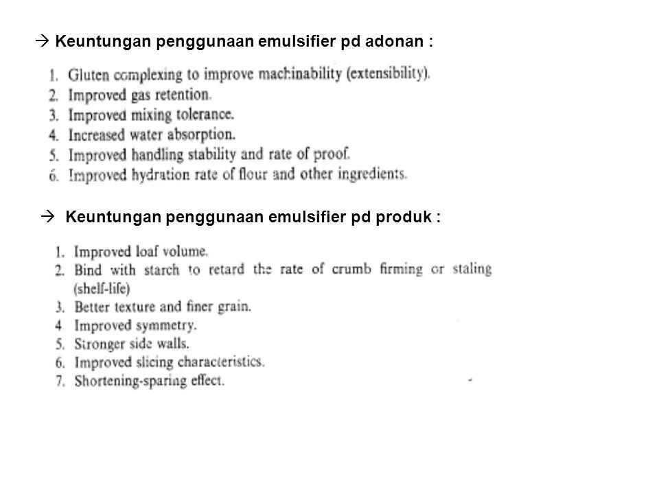  Keuntungan penggunaan emulsifier pd adonan :