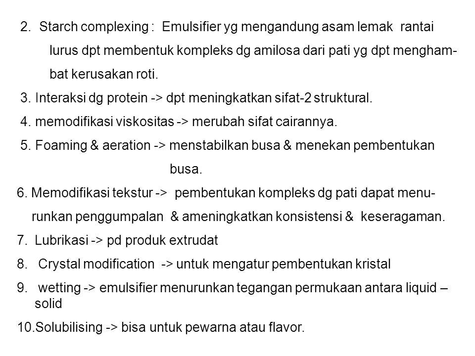 2. Starch complexing : Emulsifier yg mengandung asam lemak rantai