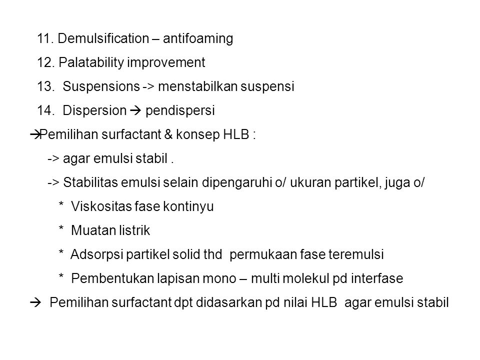 11. Demulsification – antifoaming