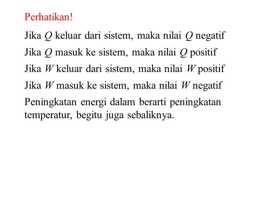 Perhatikan! Jika Q keluar dari sistem, maka nilai Q negatif. Jika Q masuk ke sistem, maka nilai Q positif.