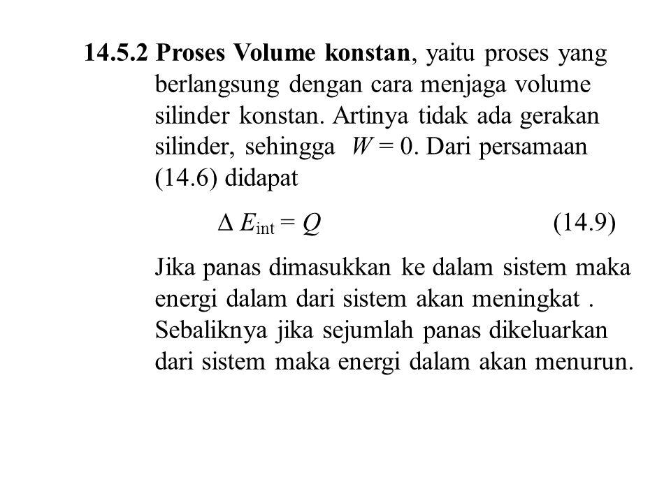 14.5.2 Proses Volume konstan, yaitu proses yang berlangsung dengan cara menjaga volume silinder konstan. Artinya tidak ada gerakan silinder, sehingga W = 0. Dari persamaan