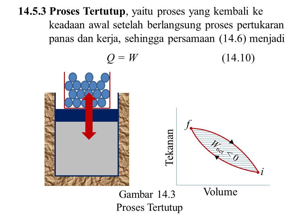 14.5.3 Proses Tertutup, yaitu proses yang kembali ke keadaan awal setelah berlangsung proses pertukaran panas dan kerja, sehingga persamaan (14.6) menjadi