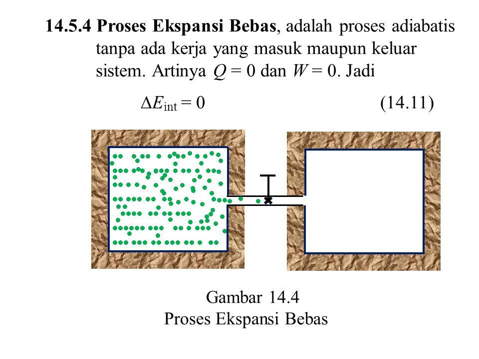 14.5.4 Proses Ekspansi Bebas, adalah proses adiabatis tanpa ada kerja yang masuk maupun keluar sistem. Artinya Q = 0 dan W = 0. Jadi