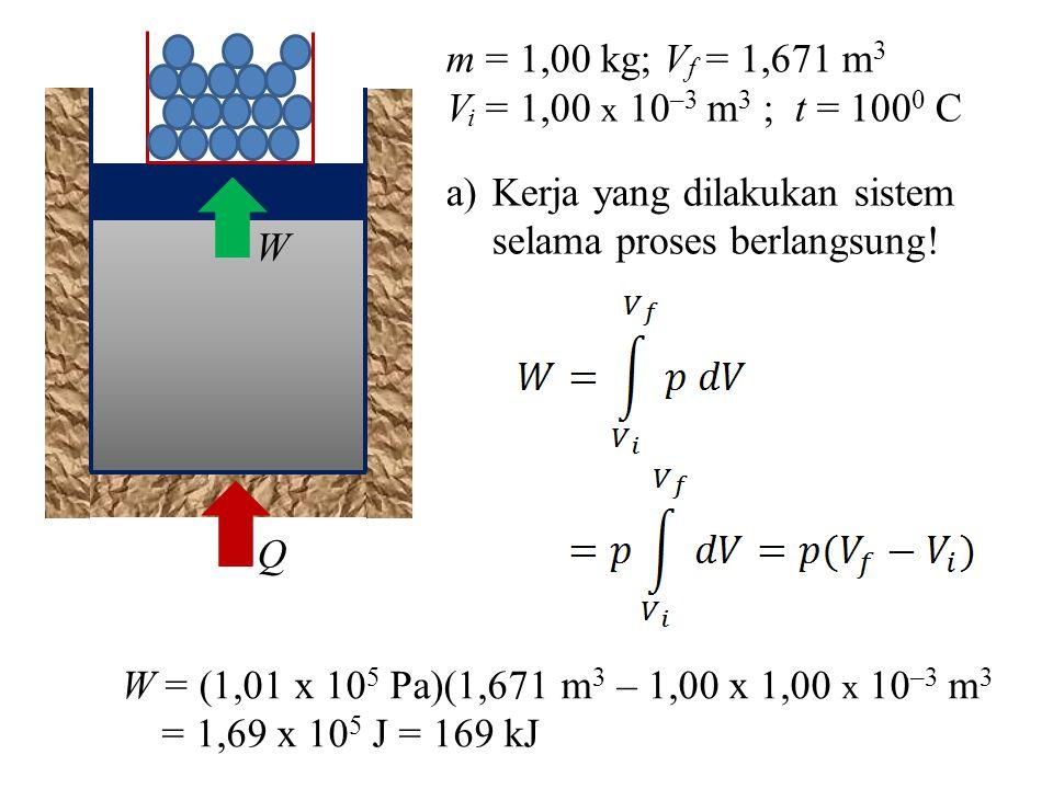 W Q. m = 1,00 kg; Vf = 1,671 m3. Vi = 1,00 x 10–3 m3 ; t = 1000 C. Kerja yang dilakukan sistem selama proses berlangsung!