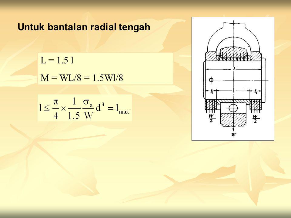 Untuk bantalan radial tengah