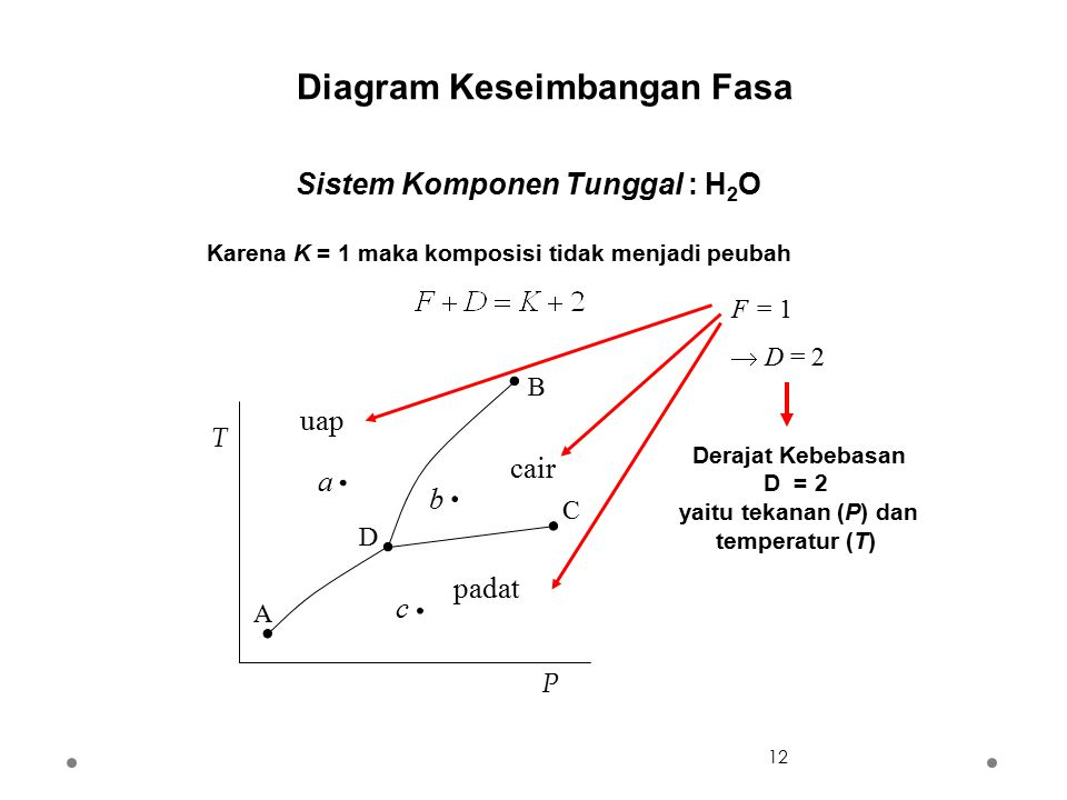 Diagram Keseimbangan Fasa yaitu tekanan (P) dan temperatur (T)
