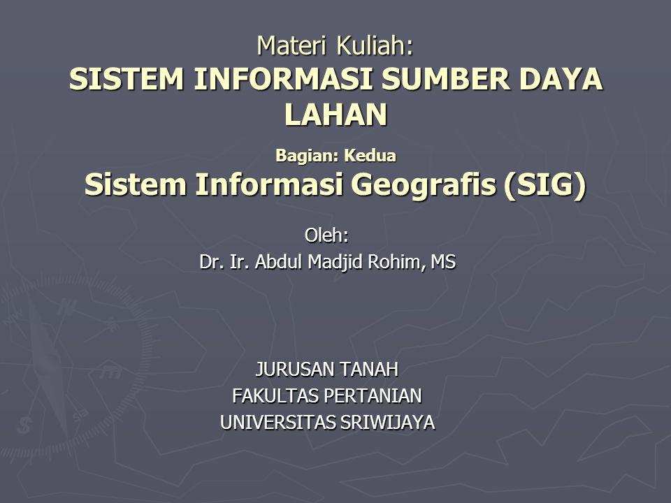Materi Kuliah: SISTEM INFORMASI SUMBER DAYA LAHAN Bagian: Kedua Sistem Informasi Geografis (SIG)