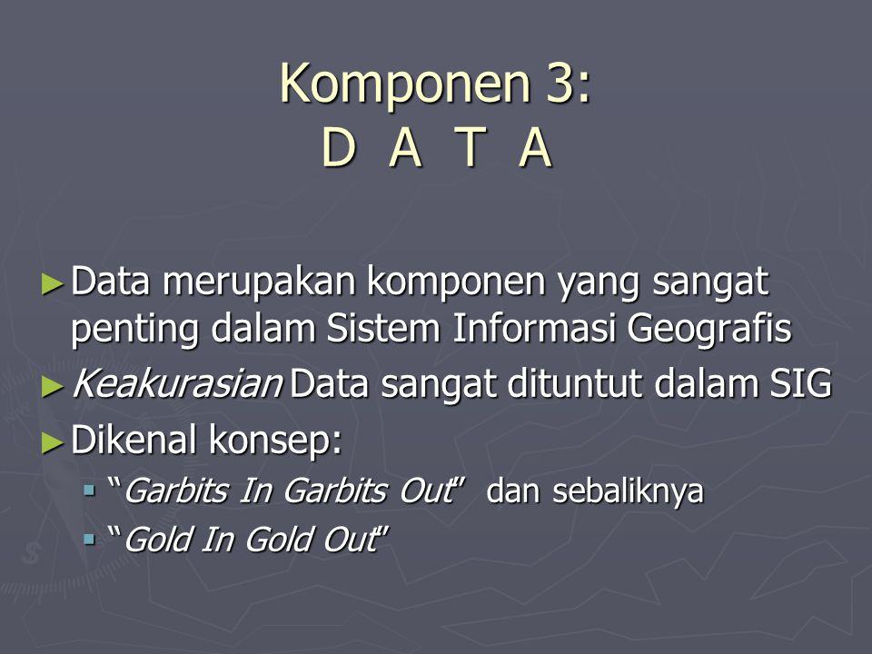 Komponen 3: D A T A Data merupakan komponen yang sangat penting dalam Sistem Informasi Geografis.