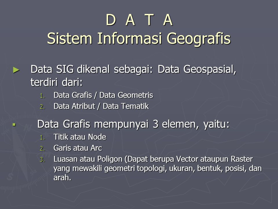 D A T A Sistem Informasi Geografis