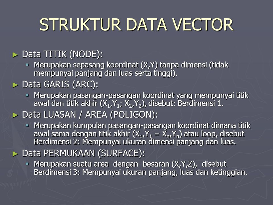 STRUKTUR DATA VECTOR Data TITIK (NODE): Data GARIS (ARC):