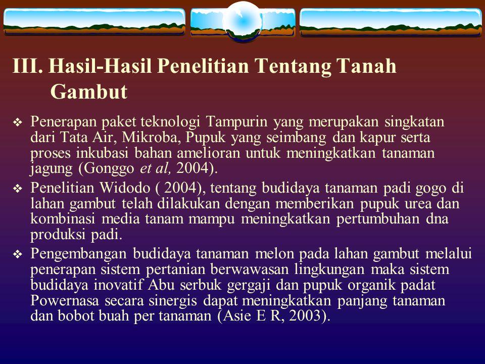 III. Hasil-Hasil Penelitian Tentang Tanah Gambut
