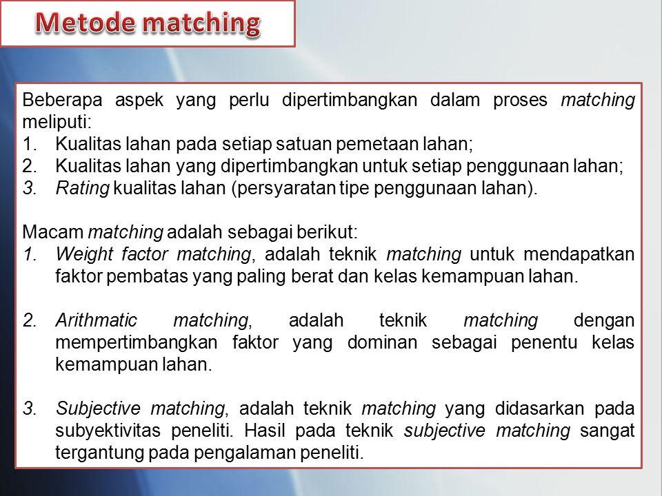 Metode matching Beberapa aspek yang perlu dipertimbangkan dalam proses matching meliputi: Kualitas lahan pada setiap satuan pemetaan lahan;