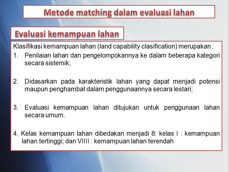 Metode matching dalam evaluasi lahan Evaluasi kemampuan lahan