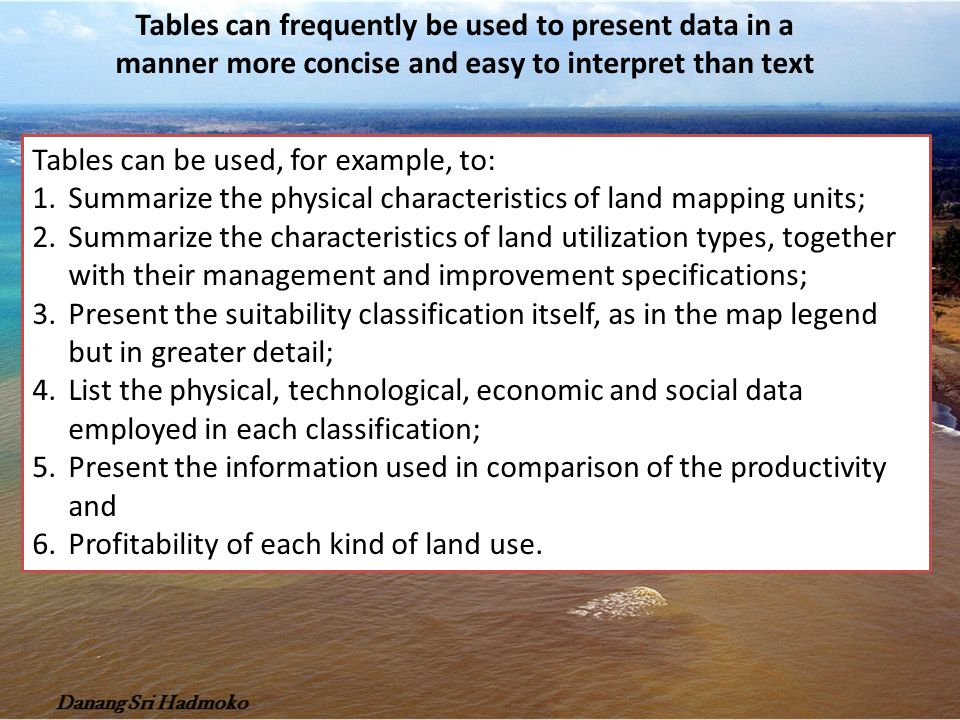 Tables can frequently be used to present data in a manner more concise and easy to interpret than text