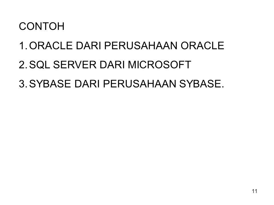 CONTOH ORACLE DARI PERUSAHAAN ORACLE SQL SERVER DARI MICROSOFT SYBASE DARI PERUSAHAAN SYBASE.