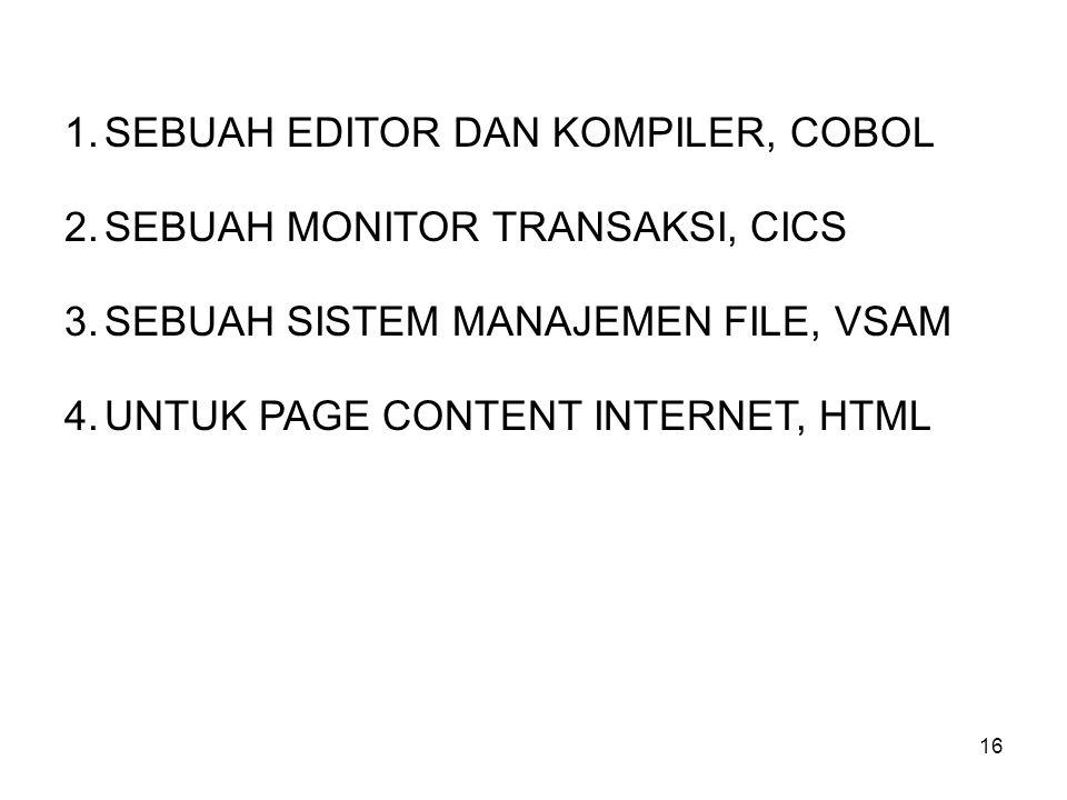 SEBUAH EDITOR DAN KOMPILER, COBOL