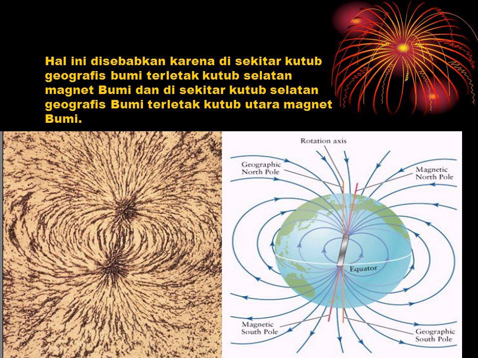 Hal ini disebabkan karena di sekitar kutub geografis bumi terletak kutub selatan magnet Bumi dan di sekitar kutub selatan geografis Bumi terletak kutub utara magnet Bumi.