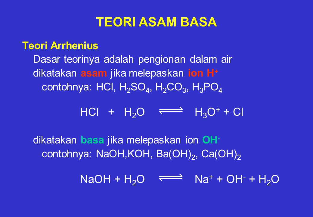 TEORI ASAM BASA Teori Arrhenius