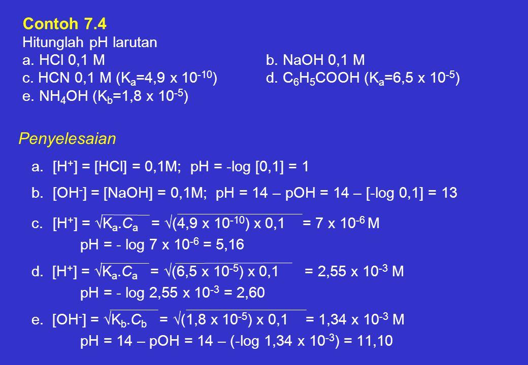 Contoh 7. 4 Hitunglah pH larutan a. HCl 0,1 M. b. NaOH 0,1 M c