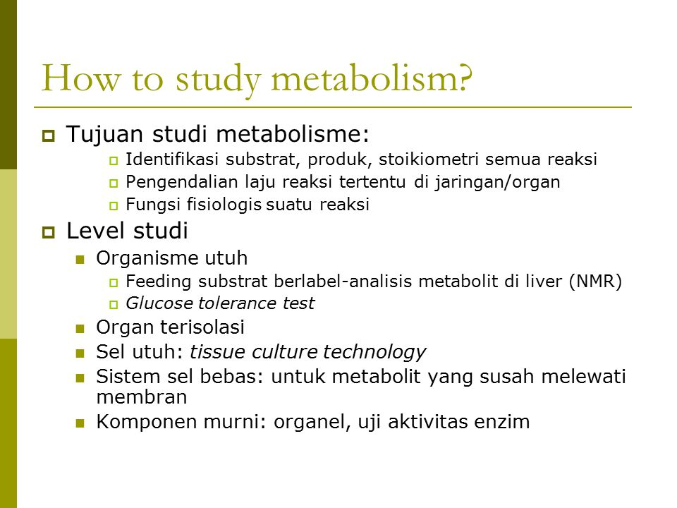 How to study metabolism