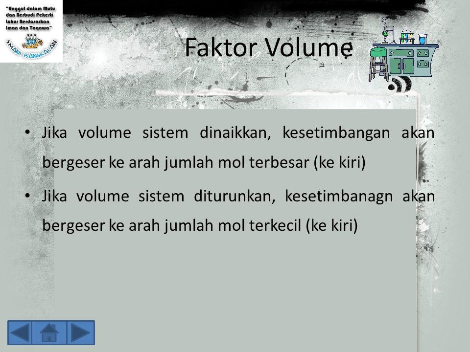 Faktor Volume Jika volume sistem dinaikkan, kesetimbangan akan bergeser ke arah jumlah mol terbesar (ke kiri)