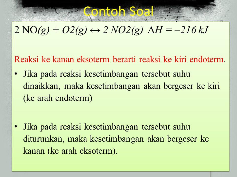 Contoh Soal 2 NO(g) + O2(g) ↔ 2 NO2(g) ∆H = –216 kJ