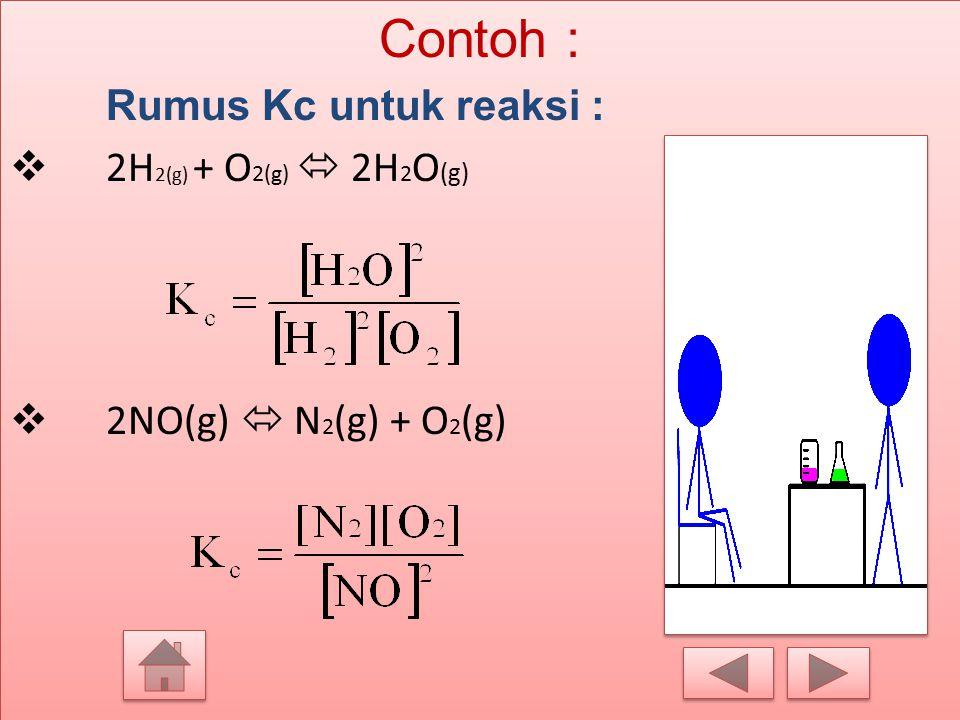 Contoh : Rumus Kc untuk reaksi : 2H2(g) + O2(g)  2H2O(g)