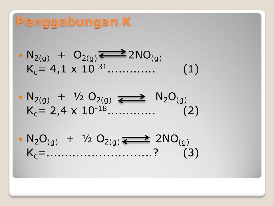 Penggabungan K N2(g) + O2(g) 2NO(g) Kc= 4,1 x 10-31............. (1)