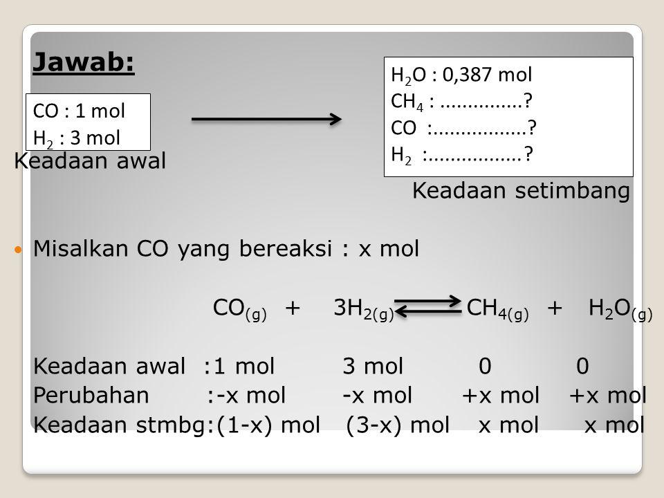 Jawab: Keadaan awal. Keadaan setimbang. Misalkan CO yang bereaksi : x mol. CO(g) + 3H2(g) CH4(g) + H2O(g)