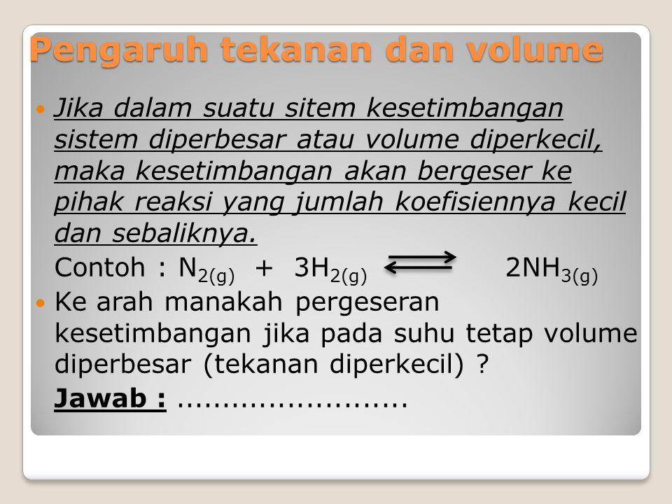 Pengaruh tekanan dan volume