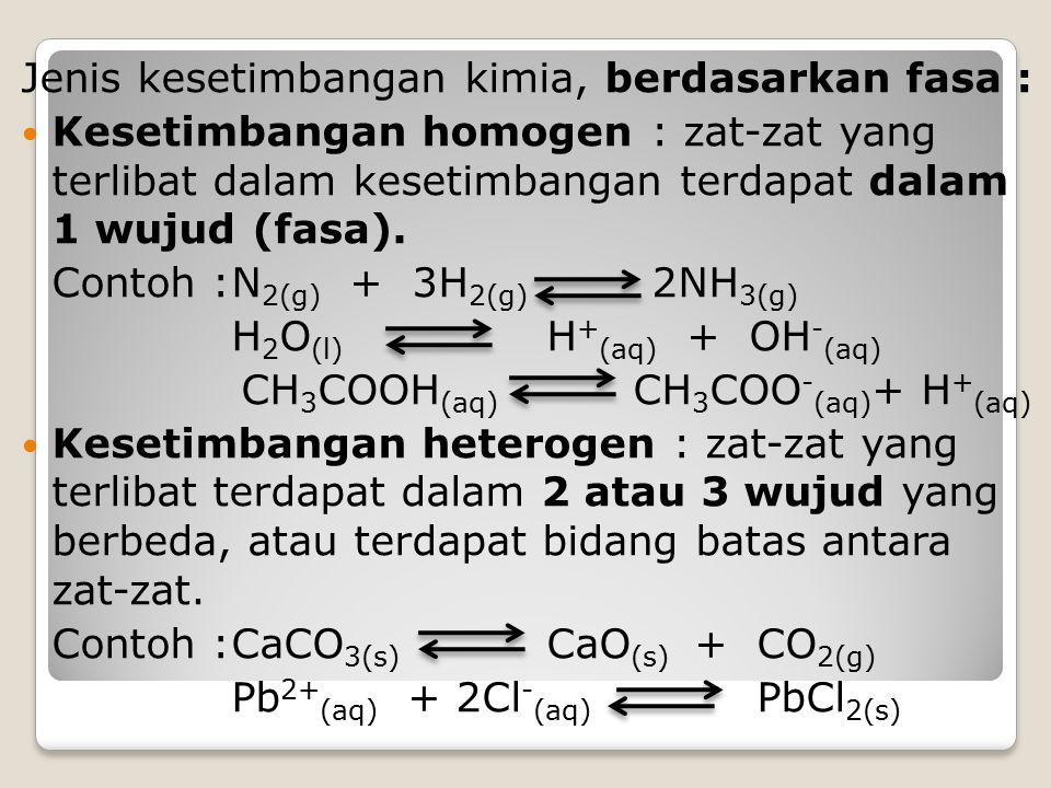 Jenis kesetimbangan kimia, berdasarkan fasa :