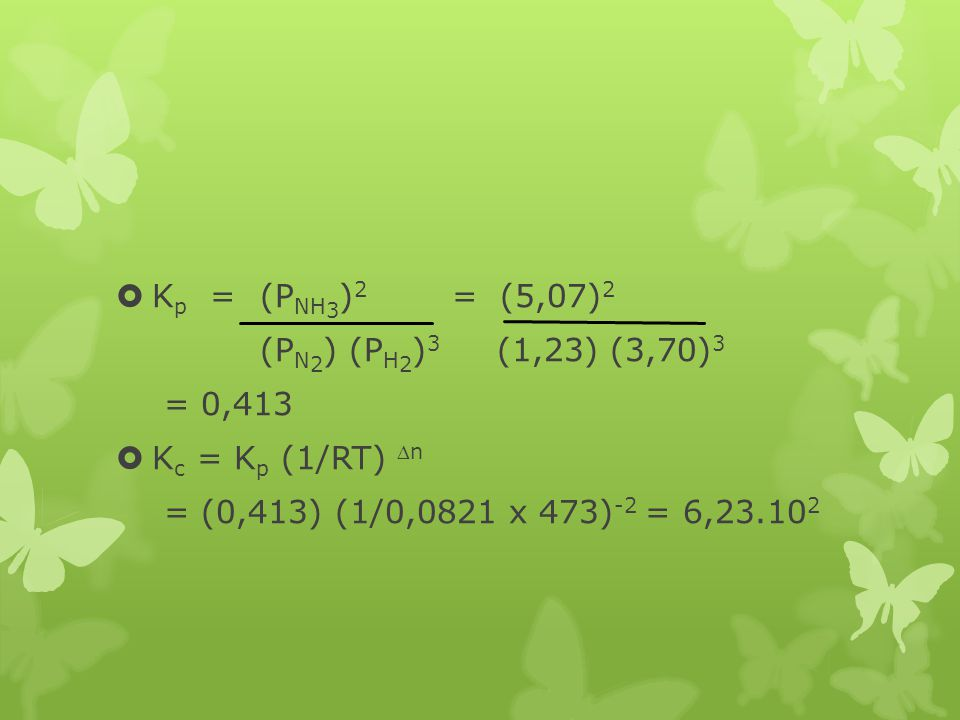 Kp = (PNH3)2 = (5,07)2 (PN2) (PH2)3 (1,23) (3,70)3.