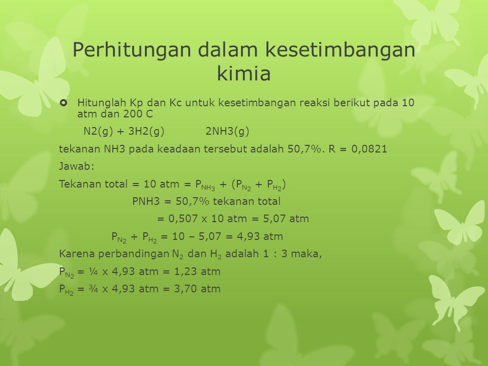 Perhitungan dalam kesetimbangan kimia