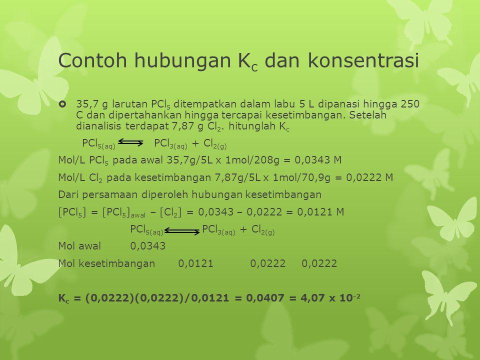 Contoh hubungan Kc dan konsentrasi