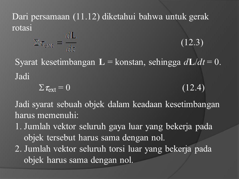 Dari persamaan (11.12) diketahui bahwa untuk gerak rotasi