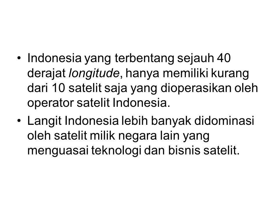 Indonesia yang terbentang sejauh 40 derajat longitude, hanya memiliki kurang dari 10 satelit saja yang dioperasikan oleh operator satelit Indonesia.