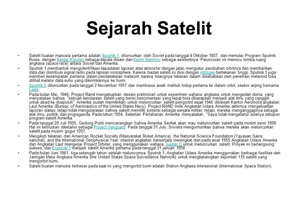 Sejarah Satelit