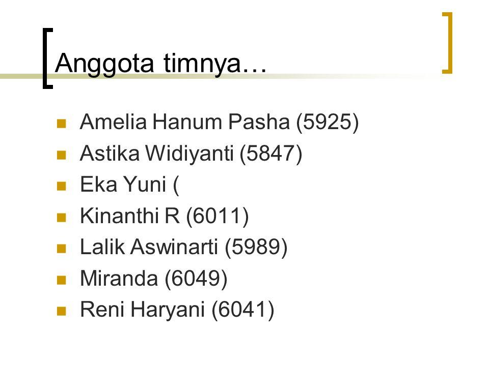 Anggota timnya… Amelia Hanum Pasha (5925) Astika Widiyanti (5847)