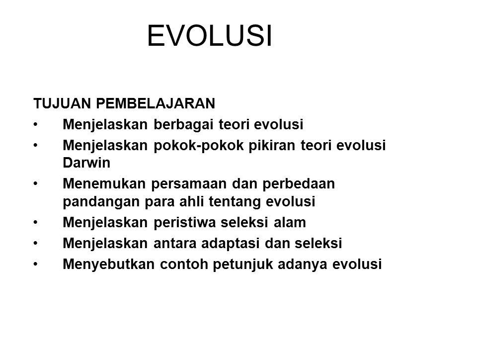 EVOLUSI TUJUAN PEMBELAJARAN Menjelaskan berbagai teori evolusi