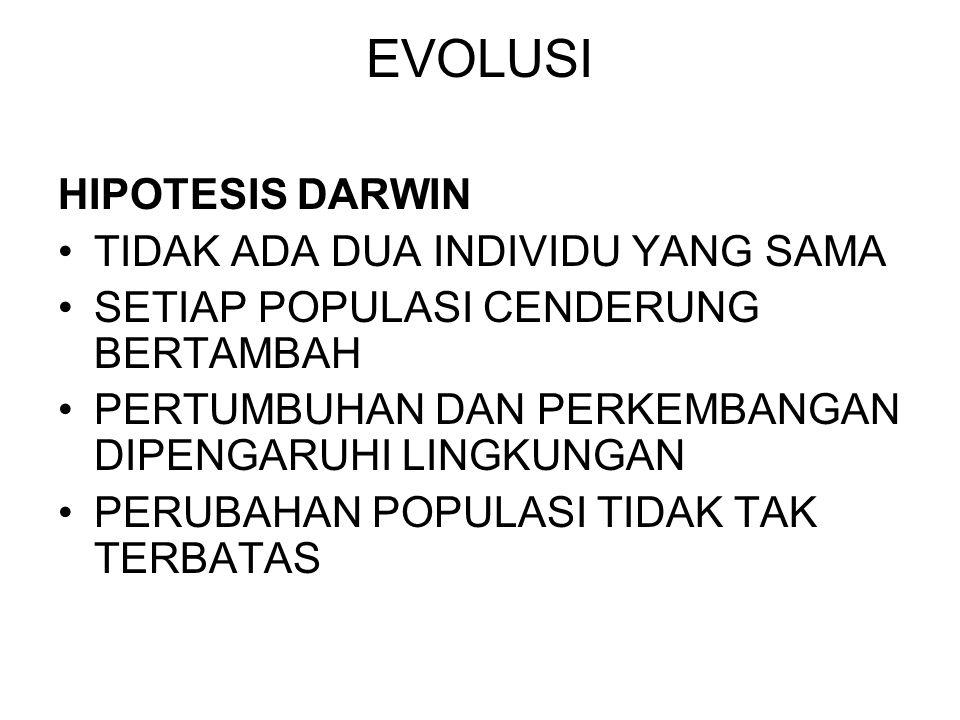 EVOLUSI HIPOTESIS DARWIN TIDAK ADA DUA INDIVIDU YANG SAMA