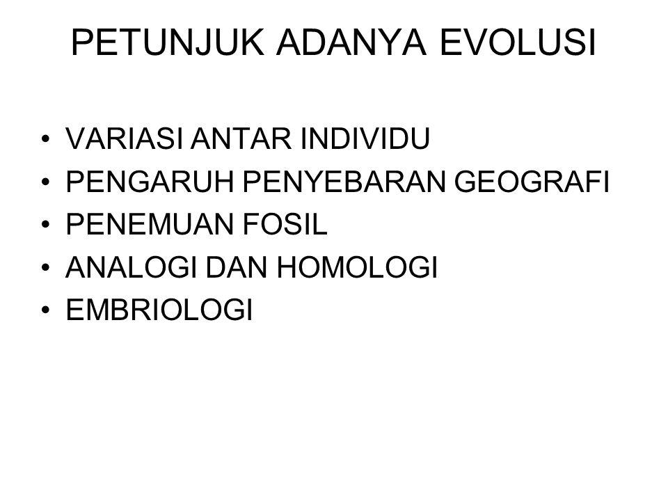 PETUNJUK ADANYA EVOLUSI