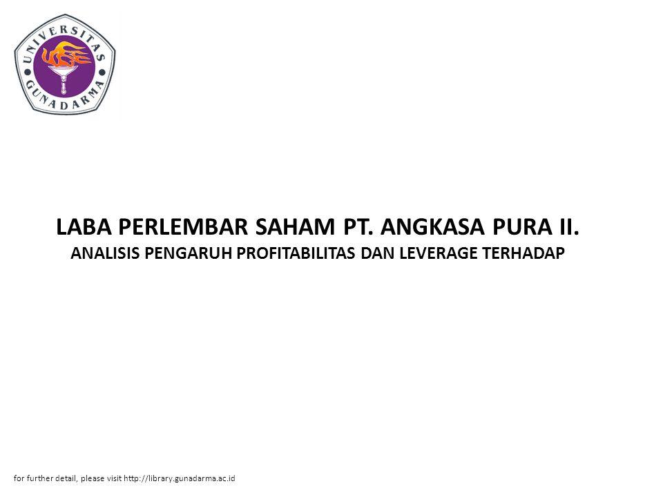 LABA PERLEMBAR SAHAM PT. ANGKASA PURA II