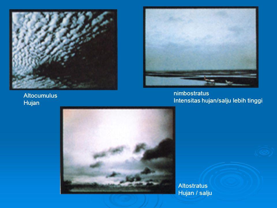 nimbostratus Intensitas hujan/salju lebih tinggi Altocumulus Hujan Altostratus Hujan / salju