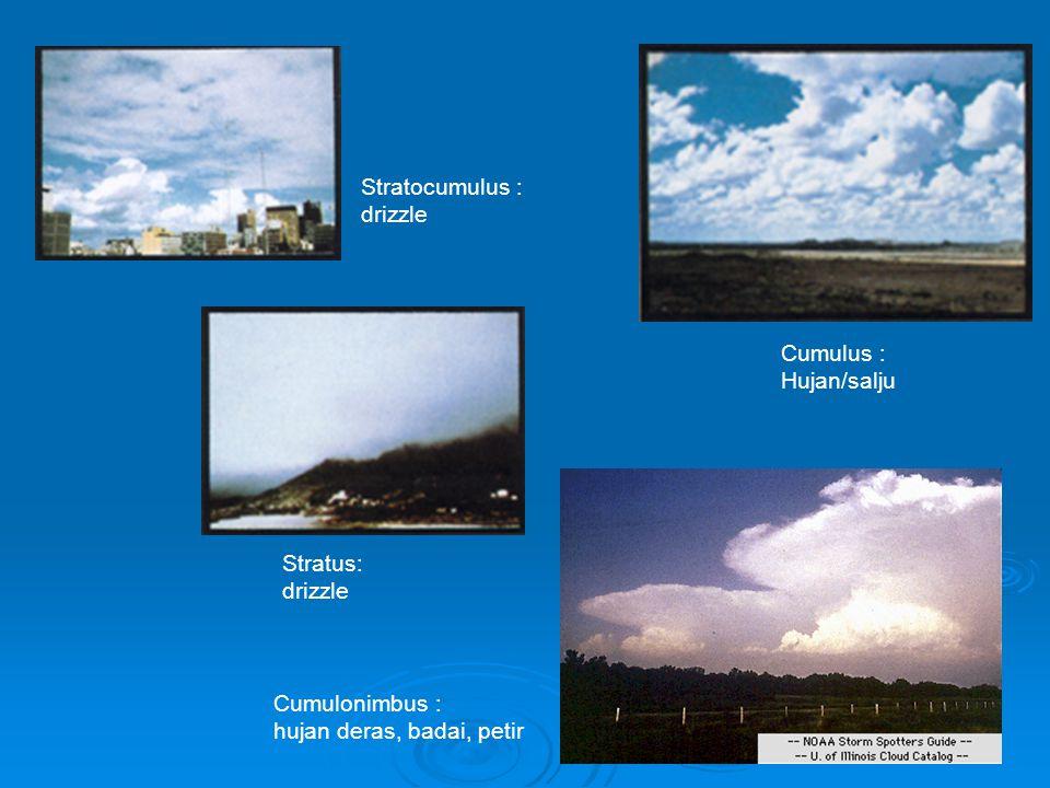 Stratocumulus : drizzle. Cumulus : Hujan/salju.