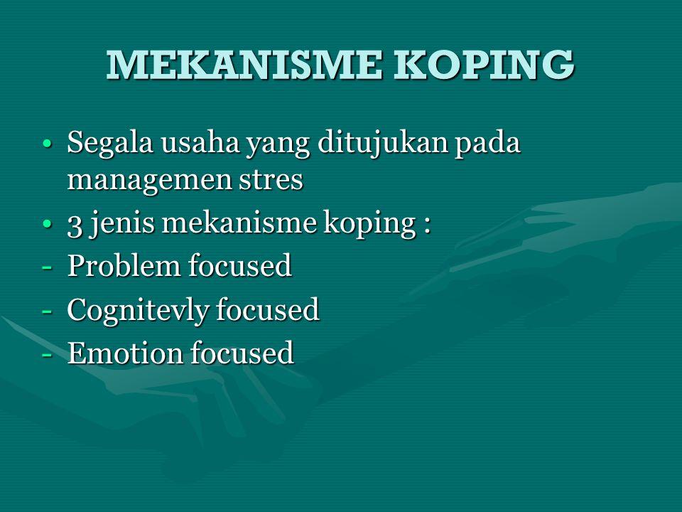 MEKANISME KOPING Segala usaha yang ditujukan pada managemen stres