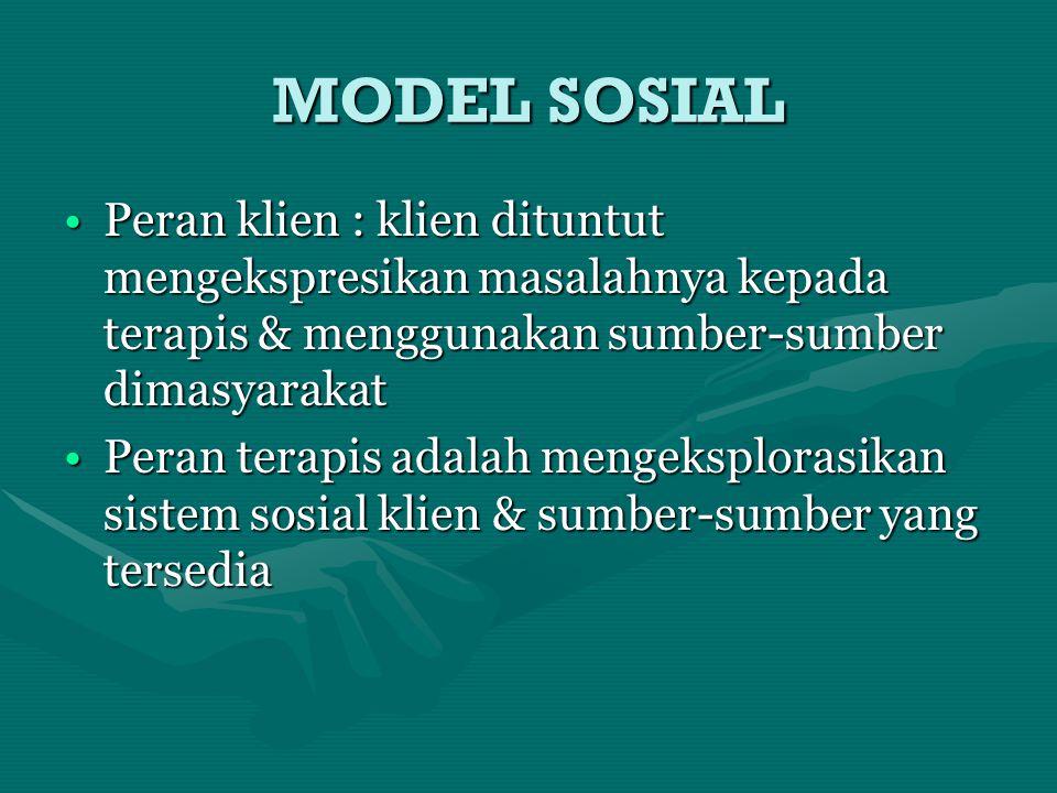 MODEL SOSIAL Peran klien : klien dituntut mengekspresikan masalahnya kepada terapis & menggunakan sumber-sumber dimasyarakat.